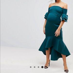 Maternity formal off the shoulder dress